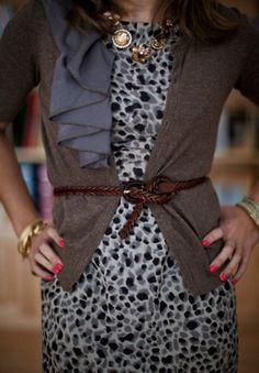 great details to make an outfit special: necklace, twist belt, bangles, bright nailpolish, print on the grey dress & ruffle on sweater