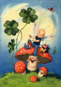 Sweet fairy with a good luck clover, fly agaric mushrooms & ladybugs. Fairy Dust, Fairy Land, Fairy Tales, Good Luck Clover, Whatsapp Wallpaper, Elves And Fairies, Mushroom Art, Fairy Pictures, Vintage Fairies