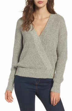 Main Image - ASTR the Label Stephanie Surplice Sweater