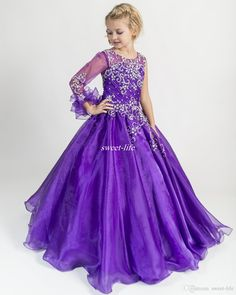 New Design Royal Purple Girls Pageant Dresses Ball Gown with Long Sleeve Crew Applique Crystal Floor Length 2016 Wedding Flower Girl Dresses Online with $78.79/Piece on Sweet-life's Store | DHgate.com