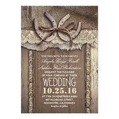 Shop Rustic Country Horseshoes and Burlap Lace Wedding Invitation created by jinaiji. Barn Wedding Invitations, Engagement Party Invitations, Rustic Invitations, Bridal Shower Invitations, Dinner Invitations, Wedding Napkins, Invitation Cards, Invitation Envelopes, Invitation Suite