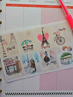 Paris Eiffel Tower Background Planner Stickers | Erin Condren | Happy Planner | Filofax | Kikki K | Plum Planner Stickers