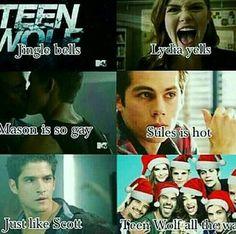 Jingle bells in Teen Wolf& way Stiles Teen Wolf, Teen Wolf Boys, Teen Wolf Dylan, Teen Wolf Cast, Teen Wolf Memes, Teen Wolf Quotes, Teen Wolf Funny, Stydia, Sterek