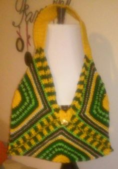 Crocheted Squarangle Purse  Green and Gold by MJCrochetCre8tions