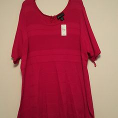 """Red Lane Bryant Sweater dress 26/28 NWT Cute brand new with tags red sweater dress by Lane Bryant. Features round neckline, stripe detail in red, short sleeves, and a zipper back. Has a great stretch  Bust: 50"""" Length: 42"""" Lane Bryant Dresses Midi"""
