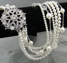 Pearl Bridal Necklace  Chunky Wedding Necklace by CrystalAvenues, $135.00