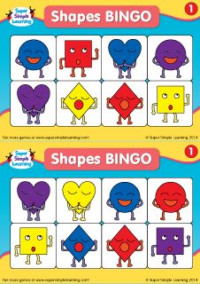 Practice basic shapes and colors with these Shapes BINGO Cards Set 1 from Super Simple Learning. #preK #kindergarten #ESL