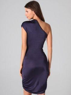 2012 Style A-line One Shoulder Ruffles  Short  Knee-length  Chiffon Grape Cocktail Dress / Homecoming Dress
