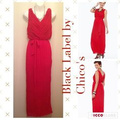 Black Label by Chico's Red Maxi Dress NWT Beautiful dress. Look at pictures for detailed description. NWT. Chicos size 1 is size 8.•Take reasonable Offers.  •Smoke & Pet Free Home •Please ask for measurements, that way we have a great transaction.  Thanks  #lakaren77 Chico's Dresses Maxi