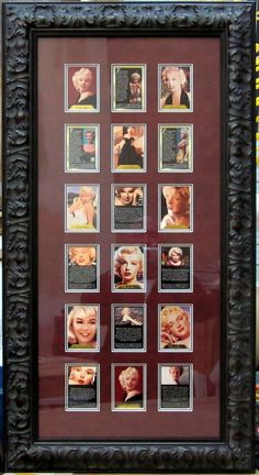 Marilyn Monroe Trading Cards.  Preserved and beautifully framed, sure beats keeping them in a book.  Framed by Frameworks of Utah.