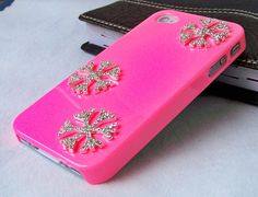Apple iphone 4 4s cases,pink iphone 4 covers ,crystal iphone 4 cases,with diamond snow,accept custom for samsung and HTC cases. $19.99, via Etsy.