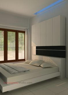 cabinet located in a modern minimalist bedroom interior