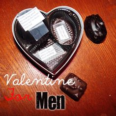 Valentines Idea for Him- beneath each chocolate piece there is a secret little message! ;)