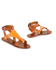 Two-Toned Calf Maelie Sandals Pretty Sandals, Simple Sandals, Ankle Wrap Sandals, Leather Sandals Flat, Ankle Strap Heels, Flat Sandals, Gladiator Flats, Foldable Shoes, Slippers For Girls