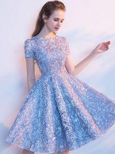 edcf303e29 Cute Homecoming Dress Scoop A-line Knee-length Lace Short Prom Dresses
