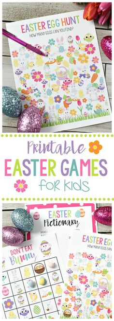 Cute Free Printable Easter Games for Kids-Easter Egg Hunt Don't Eat Pete and Easter Pictionary. These are perfect for all of the easter class parties. Easter Party Games, Easter Eggs Kids, Easter Activities For Kids, Easter Hunt, Kids Party Games, Easter Crafts For Kids, Kids Fun, Bunny Crafts, Easter Scavenger Hunt