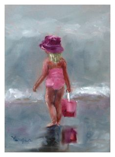 pretty in pink art print beach art from original by veneziaart, $15.00