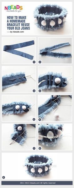 How to make a homemade bracelet reuse of your old jeans by Ama . - How to make a homemade bracelet reuse of your old jeans by Ama … – - Diy Jewelry Rings, Diy Jewelry Unique, Diy Jewelry To Sell, Diy Jewelry Projects, Jewelry Crafts, Jewelry Making, Jewelry Accessories, Diy Projects, Recycled Jewelry