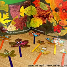 Leaf man puppets. A simple craft inspired by the book 'Leaf Man' by Lois Ehlert. Fall/ autumn activities for toddlers and preschoolers.