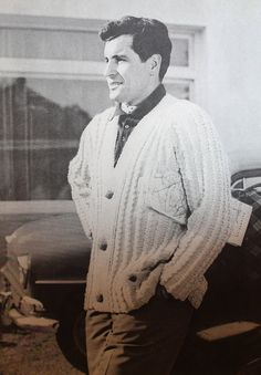 "This sweater is for a man who knows where he's going and is going in style. What a great vintage button-up cardigan. Totally hipster mod styling.  Vintage Knitting Pattern Men's Ribbed Cardigan Sweater - 1960's original ""The Spectator"" - Mad Men Hipster style"