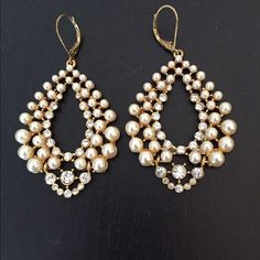 """Statement Pearl & Crystal Leverback Earrings Stunning 2"""" pearl & crystal leverback earrings with movable bottom. There are no identifying label on the back but I believe they are either Banana Republic or Talbots. Please no trade. Respectful offers appreciated. Jewelry Earrings"""