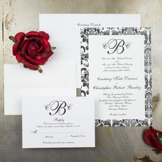 Classic black and white damask add style to these trendy damask wedding invitations. Customize it to your color scheme or add a pop of color with the satin ribbon wrap and your look is complete!