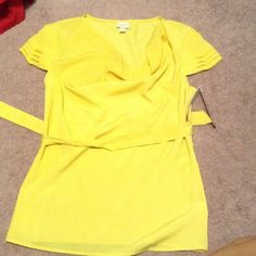 Causal top- NEW New poly blend yellow top with matching belt. Layered short sleeves. Merona Tops