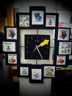 """Says Sarah from Kid Forever Preschool in Mt Albert:Our kindy clock - the Tui time is when we read stories and have morning/afternoon tea the children LOVE telling us what it's time for."""""""
