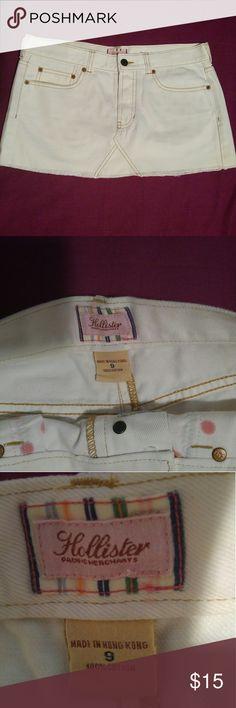 Hollister White Denim Mini Skirt Hollister white denim mini skirt, size 9. 100%cotton. In great condition Hollister Skirts Mini