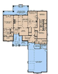 House Plan 82574 - French Country Style with 3366 Sq Ft, 4 Bed, 4 Bath, 1 Half Bath | COOLhouseplans.com Country Style House Plans, Craftsman Style House Plans, French Country Style, Computer Nook, 3 Car Garage, Building Section, Building Department, Best House Plans, New Homes