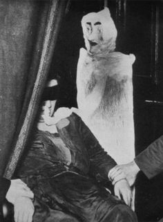 Helen Duncan with fake ectoplasm (that sort of looks likeLady Elaine Fairchilde fromMr.Rogers).