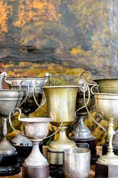 Kentucky Derby Tip - Vintage trophies from an antique store make the perfect centerpiece