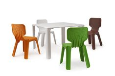 Spanish designer Javier Mariscal designed these whimsical childrens' chairs for the Me Too series of furniture by Magis. Toddler Table And Chairs, Kid Table, Table And Chair Sets, Kids Furniture, Furniture Design, Outdoor Furniture, School Furniture, European Furniture, Chair Design