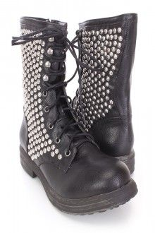 Black Lace Up Studded Combat Boots Faux Leather