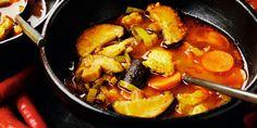 Soupe poulet-légumes pimentée au curry