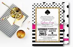 Bridal Shower Invitation Spade Inspired by VintageConfettiByAna