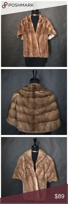MINK FUR CAPE SHAWL (S/M): EST. RETAIL PRICE $495 MINK FUR SHAWL (S/M): EST. RETAIL PRICE $495  Beautiful Real Mink Fur Shawl Good sized and very warm. Awesome little pockets and comfortable collar Large draped sleeves with arm  SIZE - Appearance Size: Small-Medium  MATERIALS Genuine Fur (Appears like Mink)  MEASUREMENTS - Length: (Front) 23 inches, (Back) 17 1/2 inches - Bust: Free  (The measurements are taken with the garment laying flat then doubled. For accurate measuring, please…