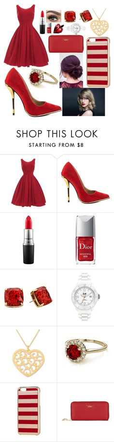 """nothing says DRAMA QUEEN like a red dress"" by taylapayno ❤ liked on Polyvore featuring Luichiny, MAC Cosmetics, Christian Dior, Kate Spade, Ice-Watch, NOVICA, H&M and Lipsy"