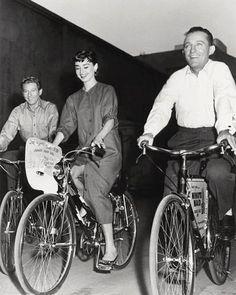 Bing Crosby, Audrey Hepburn and Danny Kaye on the set of Sabrina (1954)