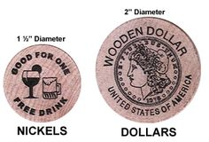 Wooden Nickel and Wooden Dollar Dimensions