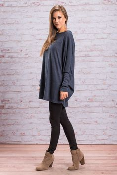 """""""Cozy Times Top, Navy"""" You couldn't ask for a cozier more comfy top this fall! It's material is soft and stretchy so you know it's comfy! #Newarrivals #shopthemint"""