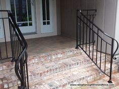Custom Wrought Iron Residential Railings Raleigh Wrought Iron Co. Wrought Iron Porch Railings, Exterior Stair Railing, Wrought Iron Driveway Gates, Wrought Iron Bench, Outdoor Stair Railing, Front Porch Railings, Wrought Iron Stair Railing, Staircase Railings, Porch Handrails