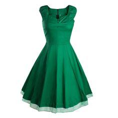 Vintage Hepburn Style Sleeveless Solid Color Dress green S