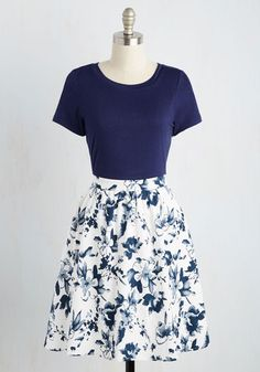 Love this style of dress - super cute. Love the floral print on the bottom, and the fact that this dress ISN'T sleeveless!