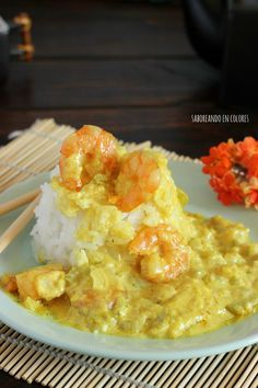 Arroz Thay con curry y gambas Asian Recipes, Healthy Recipes, Ethnic Recipes, Couscous, Arroz Thai, My Favorite Food, Favorite Recipes, Quinoa, Exotic Food