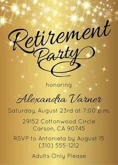 Retirement Party Invitation  Gold Sparkly Retirement Invite by AnnounceItFavors