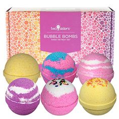 Sweet Retreat Birthday Bubble Bath Bombs Gift Set by Two Sisters Spa. 6 Large Natural Fizzies For Women, Teens and Kids. Releases Color, Scent, and Bubbles. Cheap Bath Bombs, Best Bath Bombs, Bubble Bath Bomb, Bath Bomb Gift Sets, Bath Booms, Cool Fidget Toys, Dry Sensitive Skin, Dry Skin, Spa Gifts