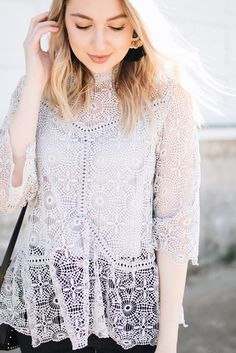 gray crochet/lace top