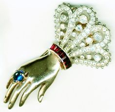 TRIFARI 'Alfred Philippe' Sterling Ruby, Sapphire & Diamante Hand Pin/Clip