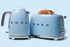 This chrome-trimmed plug-in kettle and two-slice toaster, members of Smeg's new 50's Retro Style collection, sport stout powder-coated bodies in seven cheerful colors. From smeg50style.com
